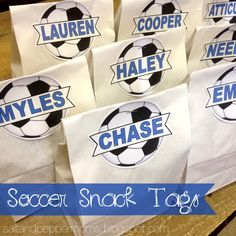 Make your kid's Upward Soccer team snacks fun by personalizing them with these printable labels. #soccer #teamsnacks #printables