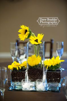 Venue at the Grove- Sunflowers and coffeebeans make the perfect centerpiece!