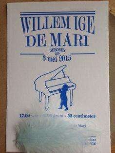 geboortekaartje - birth announcements - letterpress - jongetje - piano - blauw - geboortekaartenonline.nl