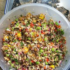 CALIFORNIA QUINOA SALAD--This is my favorite salad right now; I could eat it all day. California Quinoa Salad (Whole Foods copycat) I got all the ingredients at Trader Joe's. FYI, this makes ALOT, half the recipe feeds at least people. I Love Food, Good Food, Yummy Food, Tasty, Whole Food Recipes, Cooking Recipes, Cooking Ribs, Cooking Turkey, Family Recipes