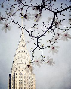 Chrysler Building in Spring, New York Photography, Pastel, Purple, Romantic Magnolia Flowers, Art Deco - Feel Brand New
