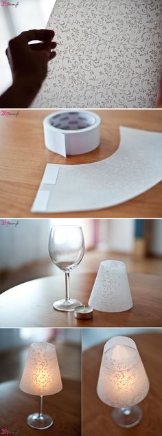 Easy idea for beautiful lamp. How to make special light for your party or romantic dinner. Printable lampshade. DIY step by step.