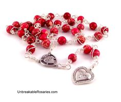 Most Precious Blood of Jesus Rosary Chaplet In Pink Impression Jasper Come Visit UnbreakableRosaries.com