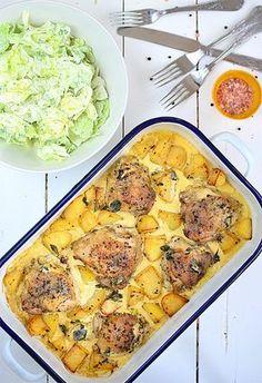 Kurczak pieczony z ziemniakami w sosie śmietankowo-musztardowym Easy Chicken Recipes, Meat Recipes, Cooking Recipes, Healthy Recipes, B Food, Food Porn, Good Food, Kitchen Recipes, Food Inspiration