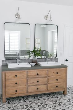 20 fabulous modern farmhouse bathroom vanity ideas - Room a Holic Bad Inspiration, Bathroom Inspiration, Small Bathroom, Master Bathroom, Bathroom Vanities, Mirror Bathroom, Bathroom Cabinets, Concrete Countertops Bathroom, Marble Countertops