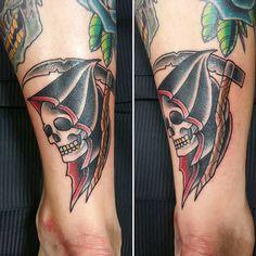 #grim #grimreaper #traditional #tattoo #tradtattoo #grimtattoo #grimreapertattoo #skull #skulltattoo
