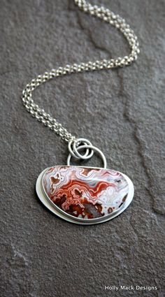 Crazy lace agate necklace stone red orange by HollyMackDesigns, $186.00