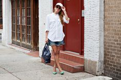 New York City Fashion and Personal Style Blog: Leather baseball cap, plain white buttondown, cut off shorts, mint green pumps