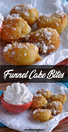 Funnel Cake Bites Recipe Funnel Cake funnel cake recipe for one Just Desserts, Delicious Desserts, Yummy Food, Deep Fried Desserts, Funnel Cake Bites, Funnel Cake Cupcakes, Beignets, Savoury Cake, Desert Recipes