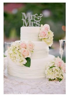 Wedding Cake Topper Mr and Mrs Wedding Cake by HappyPartyDecor