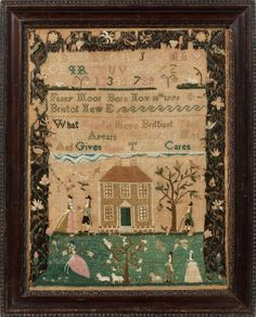 Rare and important Bristol, Rhode Island sampler with an outstanding house and lawn scene with many people, worked at Mrs. Usher's school, by Fanny Moor, ca. 1792. Sampler size: 15.75 by 12 inches. M. Finkel and Daughter Antiques. http://samplings.com/
