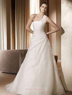 Simple A-line One Shoulder Floor-length Organza White Wedding Dresses