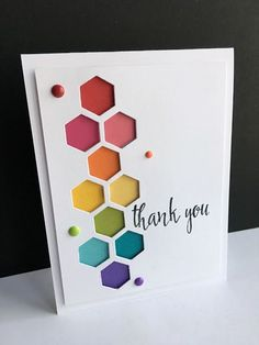 I have wanted to make a card with hexagons for a while.and am in a rainbow mood, so.I made THREE hexagon rainbow cards:)! I LOVE the Simon Says Stamp hexagon dies from the Perfect Shapes Handmade Birthday Cards, Greeting Cards Handmade, Birthday Cards To Make, Belated Birthday Card, Cute Cards, Diy Cards, Envelopes Decorados, Hexagon Cards, Tarjetas Diy