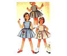 50's One Piece Dress with Transfer Simplicity 4878 Vintage Sewing Pattern Girl Size 4 Breast 23 UNCUT on Etsy, $9.00