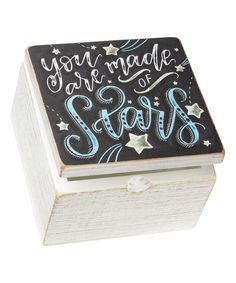 Primitives by Kathy Black & White Distressed Made of Stars Wood Box | zulily