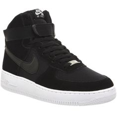 Nike Air Force 1 Hi ($120) ❤ liked on Polyvore featuring shoes, sneakers, black white, trainers, unisex sports, sport sneakers, hi tops, nike high tops, high top trainers and nike sneakers