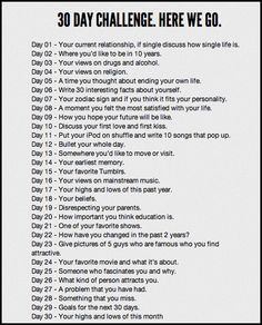 30 day blogging/ writing challenge ... thought-provoking prompts