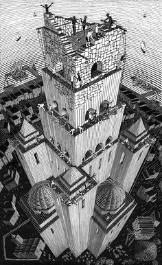 "MC Escher ""Tower of Babel"" 1928 woodcut Mc Escher Art, Escher Kunst, Escher Drawings, Turm Von Babylon, Tower Of Babel, Drawn Art, Background Images Hd, Multimedia Artist, Posters"