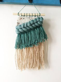 Small woven wall hanging loom weave teal wool jute fiber Weaving Wall Hanging, Wall Hangings, Weaving Techniques, Yarn Crafts, Fiber Art, Loom, Tapestry, Knitting, Jute
