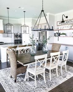 Lasting Farmhouse Dining Room Table Design Ideas - Are you redesigning your kitchen to give a country or a rustic feel? Have you considered making the centerpiece a nice farmhouse table? Farmhouse Dining Room Table, Dining Room Table Decor, Dining Room Design, Rustic Farmhouse, Farmhouse Ideas, Farmhouse Kitchen Lighting, Kitchen Dining, Dinning Room Ideas, Dining Area