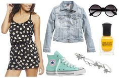Totally awesome. Ways on wearing your summer romper for a casual occasion. Tags: romper, denim jacket, converse, nail art, sunglasses, jewelry :)