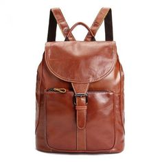 Fashion Womens Genuine Oil Wax Cow Leather Backpack Travel Bag Handbag Brown M - Ideas of Handbag Backpack Backpack Travel Bag, Fashion Backpack, Travel Bags, Rucksack Backpack, Cow Leather, Cowhide Leather, Leather Bags, Leather Craft, Vintage Backpacks