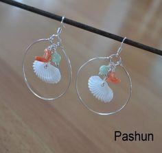 Seashell Jewelry ... Pecten Shell and Coral Hoop Earrings (0744) via Etsy