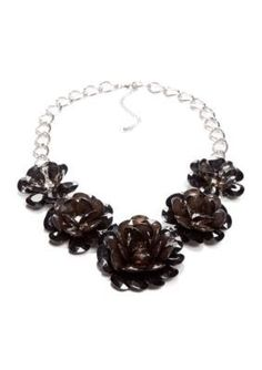 New Directions  Black Flower Necklace