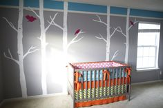 Gray nurseries look great with bright pops of color.  #gray #nursery #turquoise #fuschia #treedecal