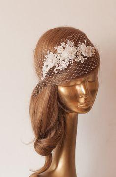 Braut Spitze Haarband mit Schleier, Elfenbein