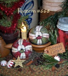 "Patti's Ratties Primitive Christmas Peppermint Ornament 3"" Doll Pattern 668"