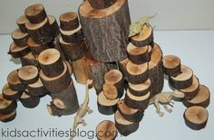 Tree Blocks: Building with Nature----Exploring with recovered items from our environment is a great way to ground our kids in who they are, to teach them to re-use, re-purpose and to be inventive with their world.