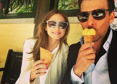Olivia and her man with a little ice cream!
