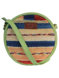 Multi Color Green Cotton Kilim Faux Leather Round Bag