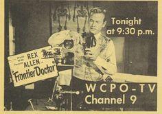 1956 Rex Allen TV Guide Ad Frontier Doctor WCPO-tv Cincinnati ch 9