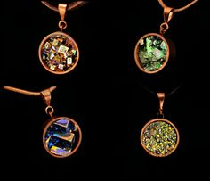 Custom Order,, 1/2 inch, Bismuth Metal Crystal in a Copper Bezel, Necklace - Leather Cord or Copper Chain, Optional Cedar Box.