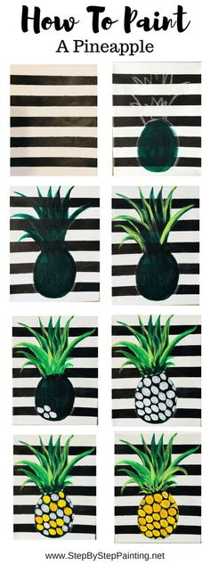 Step by step painting pineapple Easy beginner acrylic canvas tutorial I first painted the canvas white For the stripes I used painters tape and mars black in between the tape lines pineapple stepbysteppainting # Easy Canvas Art, Cute Canvas Paintings, Canvas Painting Tutorials, Easy Canvas Painting, Simple Acrylic Paintings, Acrylic Painting Canvas, Watercolour Painting, Diy Painting, Painting Techniques
