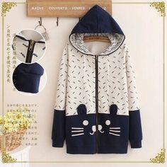 2016 New Spring&Autumn Women Zip-up Pullover Cat Fish Print Mori girls Hoodies with hood Back with cat Tail Cute Teens Outwear