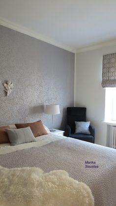 Makuuhuone, harmaa, vaalea, valkoinen, itämainen sisustus, sisustusyynyt