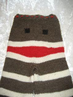 Sock Monkey Wool longies  size small by JillyBeanJar on Etsy, $42.50