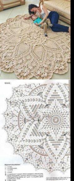 Crochet Doily Rug, Crochet Carpet, Crochet Mandala Pattern, Crochet Square Patterns, Crochet Tablecloth, Crochet Stitches Patterns, Crochet Designs, Crochet Crafts, Crochet Flowers