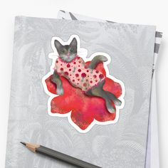 Buy my 'Cat charmante' sticker on Redbubble! A CAT LADY for the cat ladies! Red Color Meaning, Color Psychology, Buy A Cat, Cat Sitting, Pretty Cats, Flower Shape, Cat Lady, Red Flowers, Cat Lovers