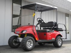Our first 2015 model is here! This brand new 2015 E-Z-GO Valor custom street ready gas golf car is powered by a 13.5HP Kawasaki gas engine and comes straight from the factory equipped with headlights, tail lights, 2-inch lift kit, horn, 18-inch Kenda Speedracer tires mounted on 10-inch factory alloy wheels, black seats, and a gorgeous red body. Plus this unit has also been equipped with a folding windshield, turn signals, brake lights, rear view mirror, and rear flip seat for $6590.  #EZGO
