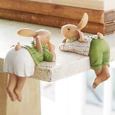 Rabbit Shelf Sitters - Set of Assorted Easter decoration gift bunny inspiration Clay Projects, Clay Crafts, Diy And Crafts, Easter Table, Easter Eggs, Cold Porcelain, Fabric Dolls, Clay Creations, Handmade Toys