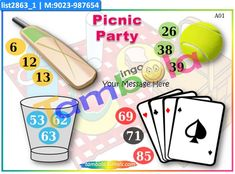 Picnic Anywhere 2 in theme Picnic as Designer Kukuba under Kukuba Kitty Party Games, Kitty Games, Cat Party, Tambola Game, Paper Games, Party Props, Picnic, Messages, Cards