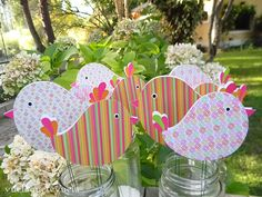 Martina • #pajaritos en el aire Bird Party, Baby Shower, Ideas Para Fiestas, Candy Party, Peppa Pig, Baby Birthday, Wood Crafts, Party Time, Birthday Cards