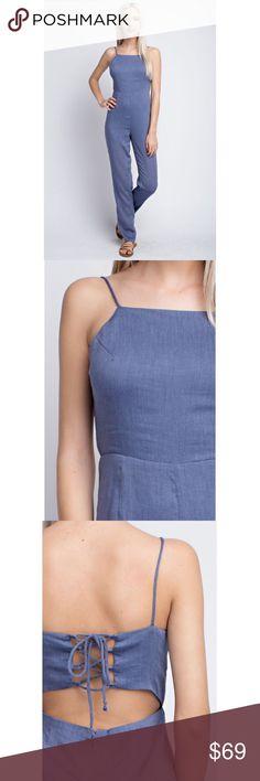 5f0f3a0e4225b COMING SOON ✨ Honey Belle Denim Backless Jumpsuit Halter cut open lace back  jumper in denim.