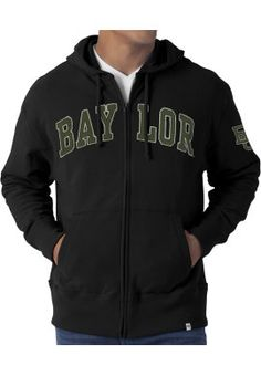 #Baylor Full-Zip Hooded Sweatshirt, available at Baylor Bookstore. Order for in-store pickup to join #EveryoneInBlack. #SicEm