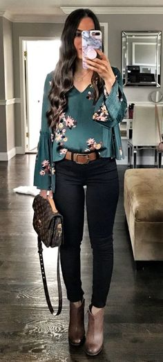 #fall #outfits women's floral design green long-sleeved blouse with black pants