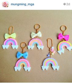 Rainbow key holder hama beads. Check it out on Instagram